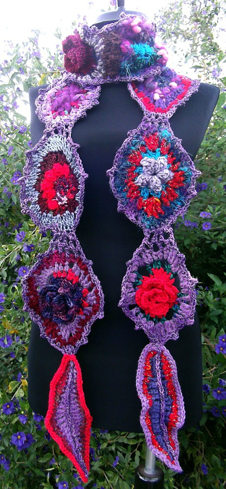 Back To The Garden freeform scarf, reds and purples