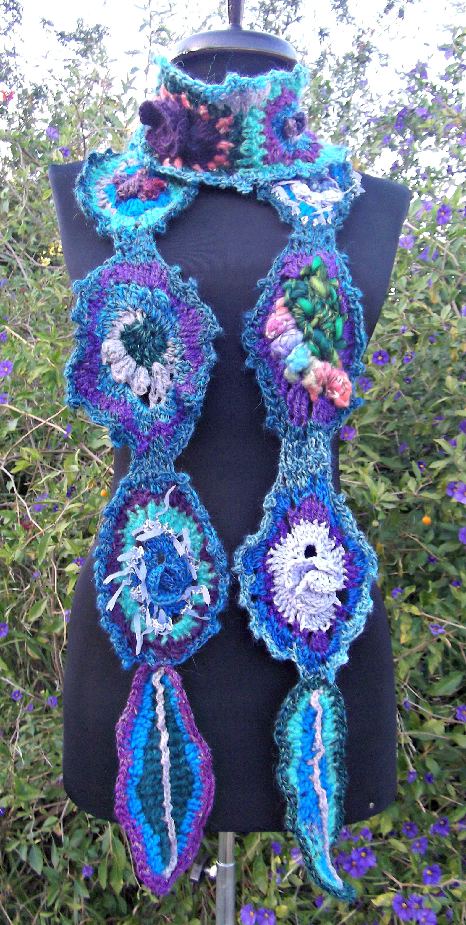 Back To The Garden freeform scarf, blues and purples