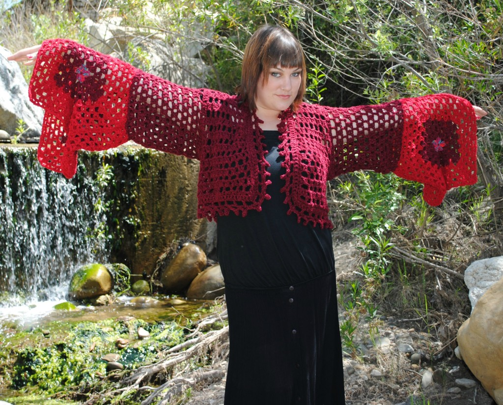 Crocheted Cardigan with Granny Square Sleeve Detail