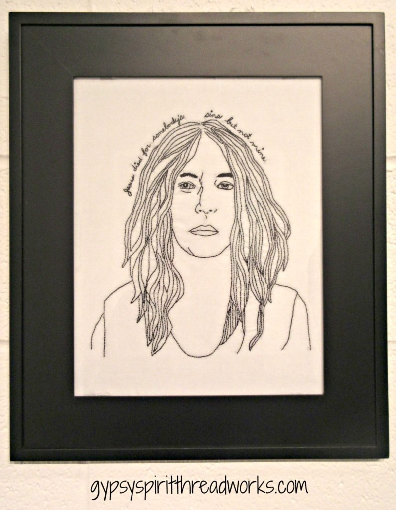 Horses, hand embroidery, 2017. Portrait of Patti Smith.